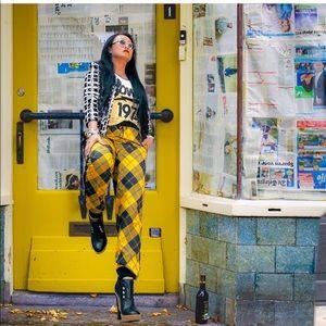 Yellow & Black Plaid Jogger Pants
